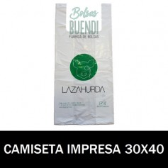 BOLSAS DE PLASTICO ASA CAMISETA IMPRESAS 30X40 G.200