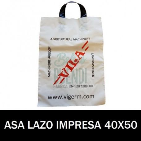 BOLSAS DE PLASTICO ASA DE LAZO IMPRESAS 40X50 G.200