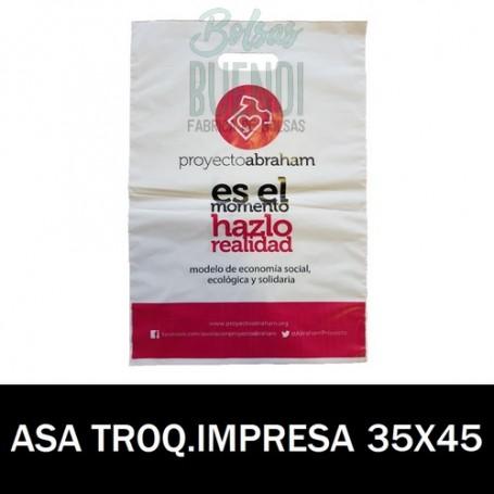 BOLSAS DE PLASTICO ASA TROQUELADA IMPRESA 35X45 G.200