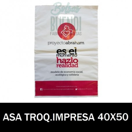 BOLSAS DE PLASTICO ASA TROQUELADA IMPRESA 40X50 G.200