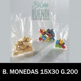 BOLSAS DE PLASTICO TRANSPARENTES 15X30 MONEDAS G.200