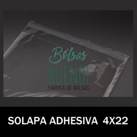 BOLSAS DE PLASTICO CON SOLAPA ADHESIVA 4X22