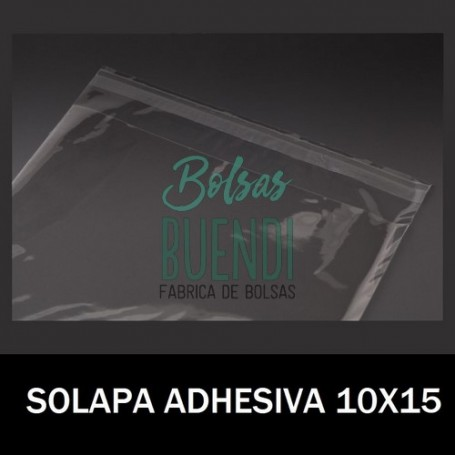 BOLSAS DE PLASTICO CON SOLAPA ADHESIVA 10X15