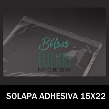 BOLSAS DE PLASTICO CON SOLAPA ADHESIVA 15X22