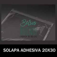 BOLSAS DE PLASTICO CON SOLAPA ADHESIVA 20X30