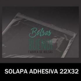 BOLSAS DE PLASTICO CON SOLAPA ADHESIVA 22X32
