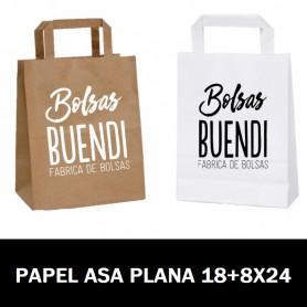BOLSAS DE PAPEL ASA PLANA IMPRESAS 18+8 X 24
