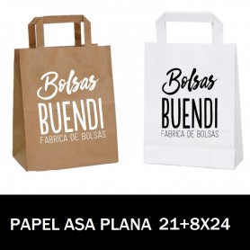 BOLSAS DE PAPEL ASA PLANA IMPRESAS 21+8 X 24