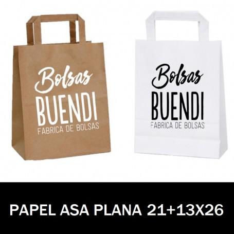 BOLSAS DE PAPEL ASA PLANA IMPRESAS 21+13 X 26