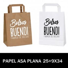BOLSAS DE PAPEL ASA PLANA IMPRESAS 25+9 X 34