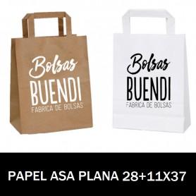 BOLSAS DE PAPEL ASA PLANA IMPRESAS 28+11 X 37