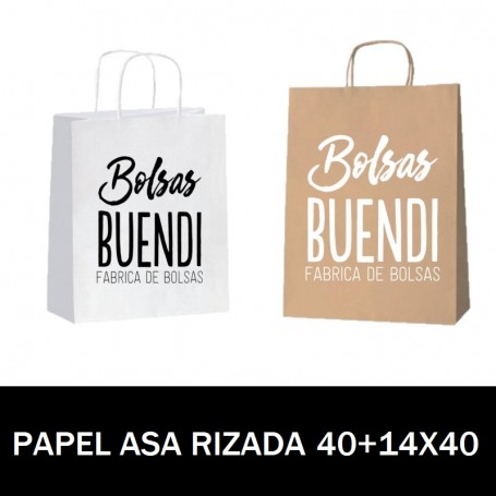 BOLSAS DE PAPEL ASA RIZADA IMPRESAS 40+14X40