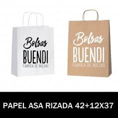 BOLSAS DE PAPEL ASA RIZADA IMPRESAS 42+12X37