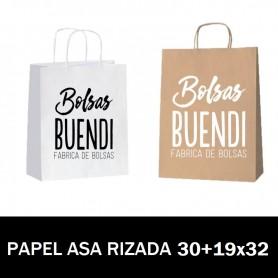 BOLSAS DE PAPEL ASA RIZADA IMPRESAS 30+19X32